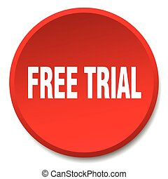 free trial red round flat isolated push button