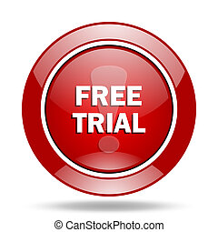 free trial red web glossy round icon