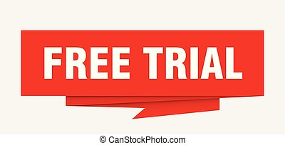 free trial sign. free trial paper origami speech bubble....