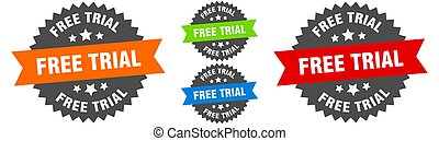 free trial sign. round ribbon label set. Seal