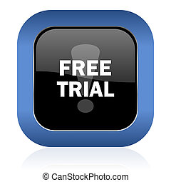 free trial square glossy icon