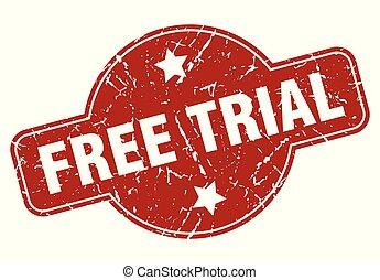 free trial vintage stamp. free trial sign