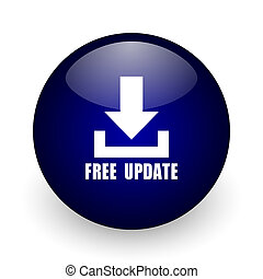 Free update blue glossy ball web icon on white background. Round 3d render button.