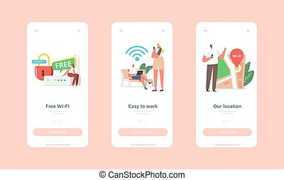 Free Wi-fi Hotspot Service Mobile App Page Onboard Screen Template. Characters at Huge Router use Internet on Laptop and Smartphone via Wireless Connection Concept. Cartoon People Vector Illustration