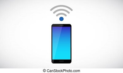 free Wi-Fi symbol connecting via smartphone animation