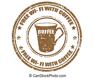 Free wi-fi with coffee-stamp - Grunge rubber stamp with text...
