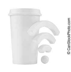 Free Wi-Fi zone. Cup with wireless signal. 3d rendering.