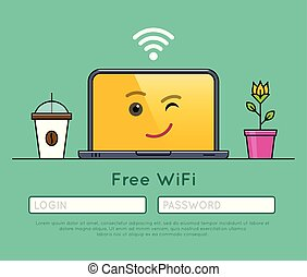 Free wifi access on laptop thin line icon