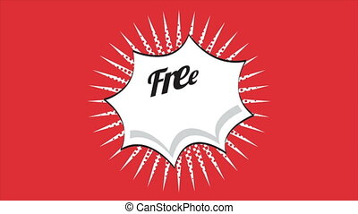 Free wifi, animation - Free wifi label on red background,...