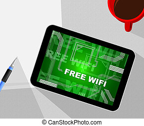 Free Wifi Anywhere Wireless Coverage 2d Illustration