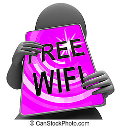 Free Wifi Anywhere Wireless Coverage 3d Rendering