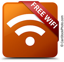 Free wifi brown square button red ribbon in corner