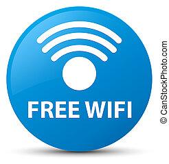 Free wifi cyan blue round button