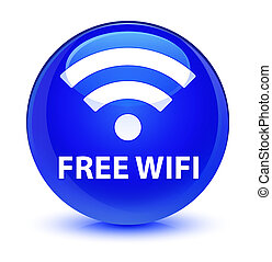 Free wifi glassy blue round button