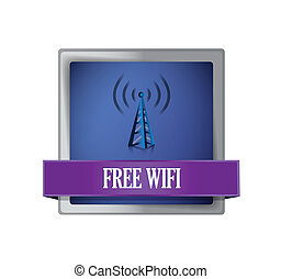 Free wifi glossy blue button illustration