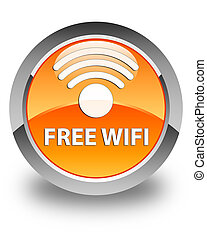 Free wifi glossy orange round button