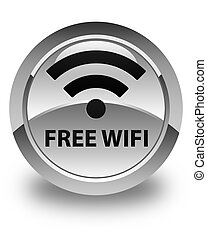Free wifi glossy white round button