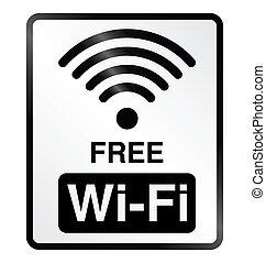Free WiFi Information Sign - Monochrome free WiFi public...