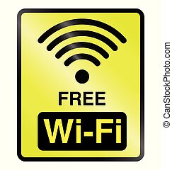 Free WiFi Information Sign - Yellow free WiFi public...