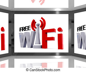 Free Wifi On Screen Showing Television With Internet Access