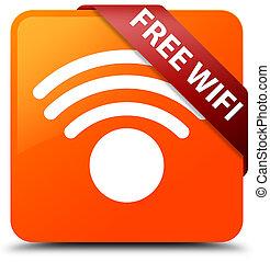 Free wifi orange square button red ribbon in corner