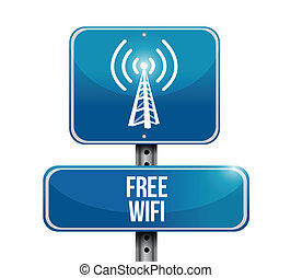 free wifi road sign illustration design