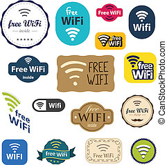 Different style Free Wifi signs