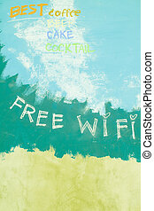 Free wifi sign on grunge blue background