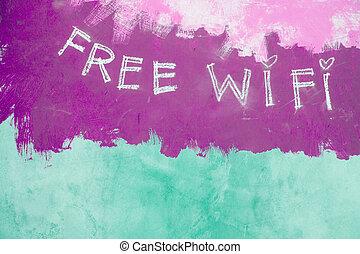 Free wifi sign on grunge purple background