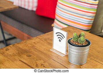 Free Wifi sign on table