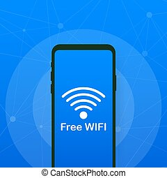 Free Wifi Sign With Smart Phone. Vector illustration.