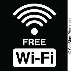 Free WiFi symbol - Monochrome WiFi text symbol isolated on...
