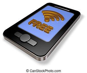 free wifi symbol on smartphone display - 3d rendering