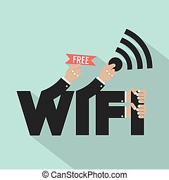 Free Wifi Typography Design Vector Illustration