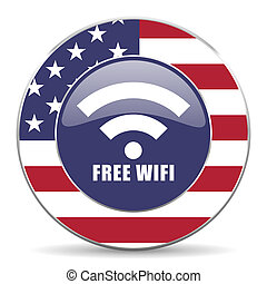 Free wifi usa design web american round internet icon with shadow on white background.