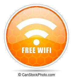 Free wifi web icon. Round orange glossy internet button for webdesign.