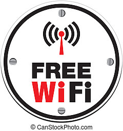 free wifi - white circle - suitable for wifi signs