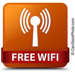 Free wifi (wlan network) brown square button red ribbon in middle