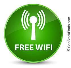 Free wifi (wlan network) elegant green round button