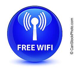 Free wifi (wlan network) glassy blue round button - Free ...