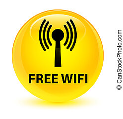 Free wifi (wlan network) glassy yellow round button