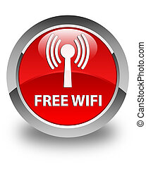 Free wifi (wlan network) glossy red round button