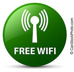 Free wifi (wlan network) green round button