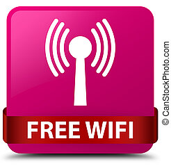 Free wifi (wlan network) pink square button red ribbon in middle