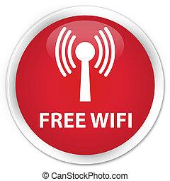 Free wifi (wlan network) premium red round button
