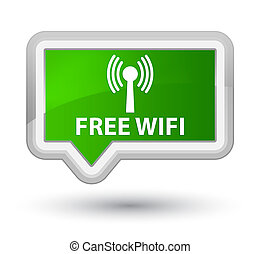 Free wifi (wlan network) prime green banner button