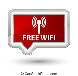 Free wifi (wlan network) prime red banner button