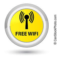 Free wifi (wlan network) prime yellow round button