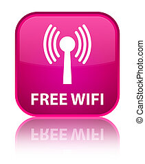 Free wifi (wlan network) special pink square button