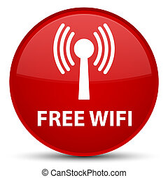 Free wifi (wlan network) special red round button